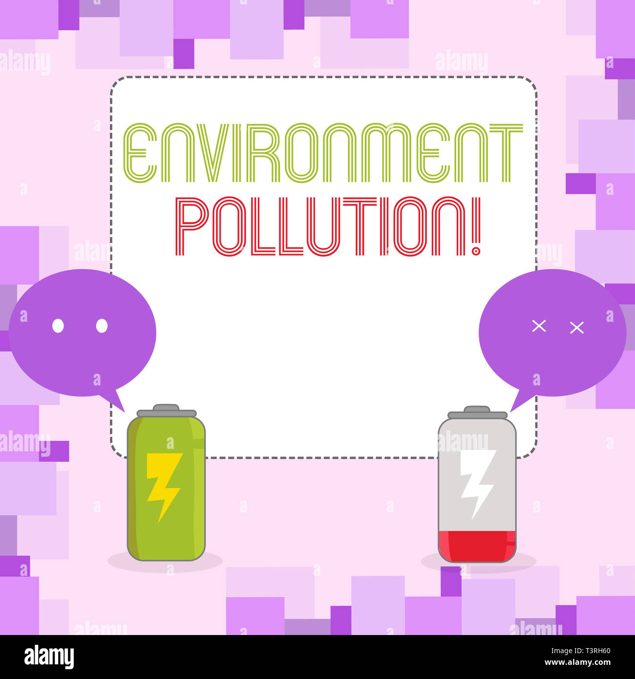 Conceptual hand writing showing Environment Pollution. Concept meaning The contaminants into the natural environment Fully Charge and Discharge Batter - Stock Image