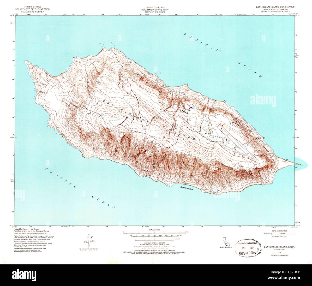 USGS TOPO Map California CA San Nicolas Island 295035 1956 ... San Go Map Of California on map of california sho, map of california usa, map of california delta, map of central california coast, map of california pa, map of california lax,