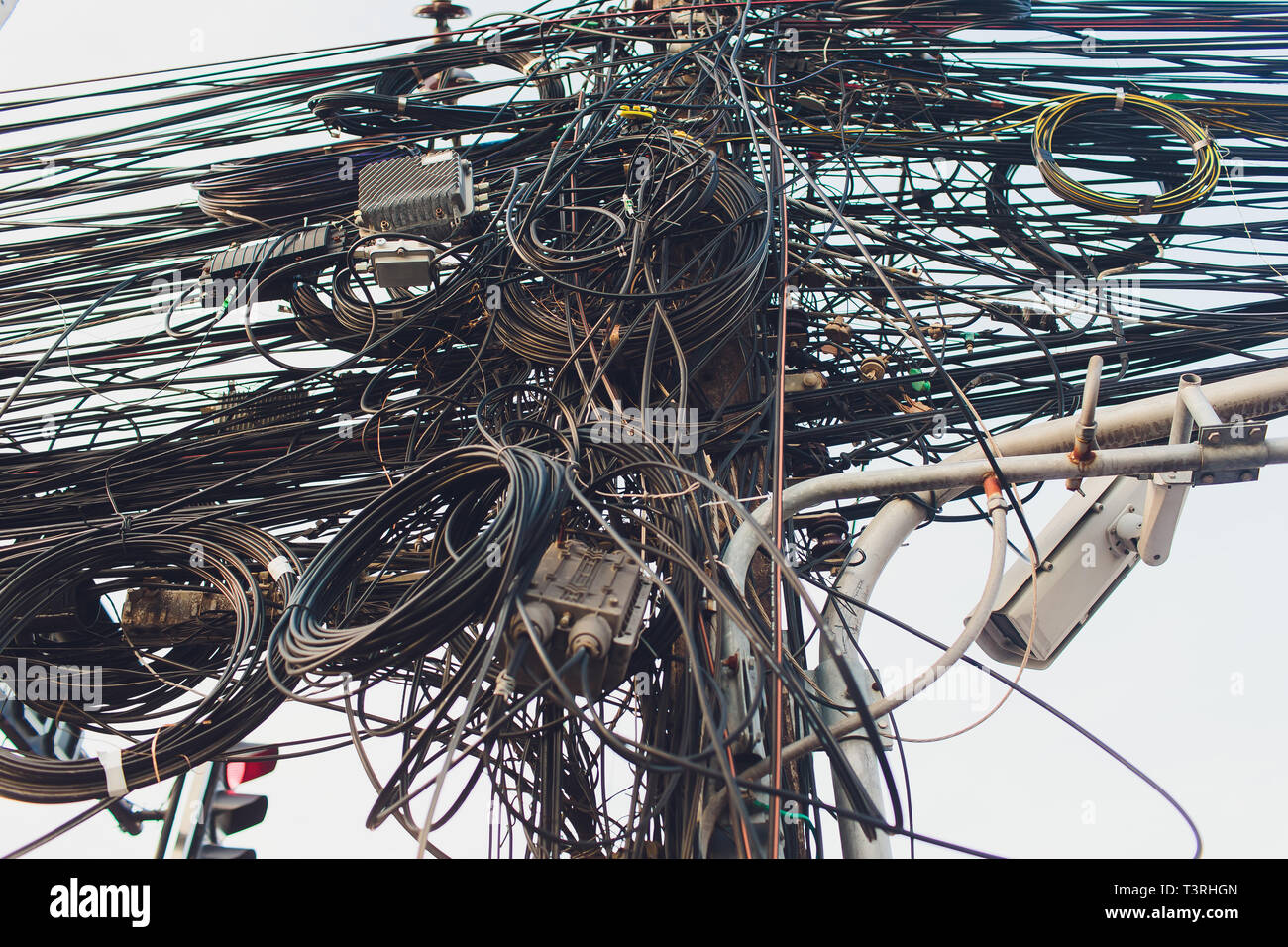 Messy Electrical Cables Wires On High Resolution Stock Photography And Images Alamy