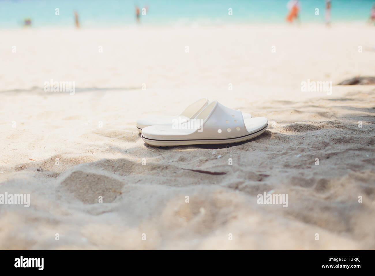 2d911d20ab2e Summer vacation concept. Flip flops on a sandy ocean beach. - Stock Image