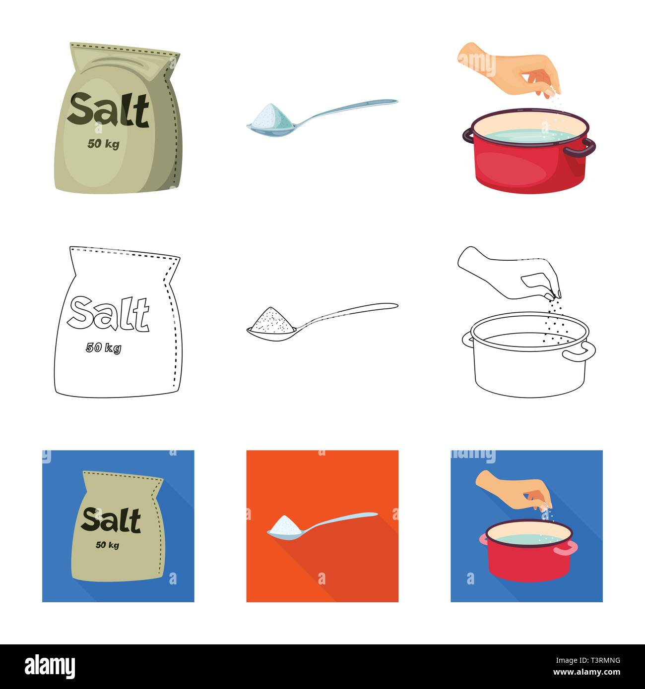 Bag Spoon Casserole Seasoning Salty Water Handful Powder Hill Arm White Grains Sprinkle Flour Container Restaurant Cooking Sea Natural Baking Salt Food Sodium Mineral Raw Kitchen Set Vector Icon Illustration Isolated Collection Design Element Graphic