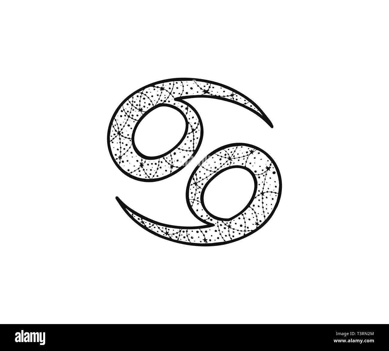 Cancer zodiac sign. Astrological horoscope. Vector illustration. Tangle pattern. Coloring book - Stock Image