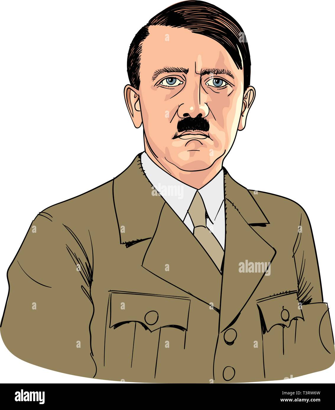 Adolph Hitler in line art portrait, vector - Stock Vector