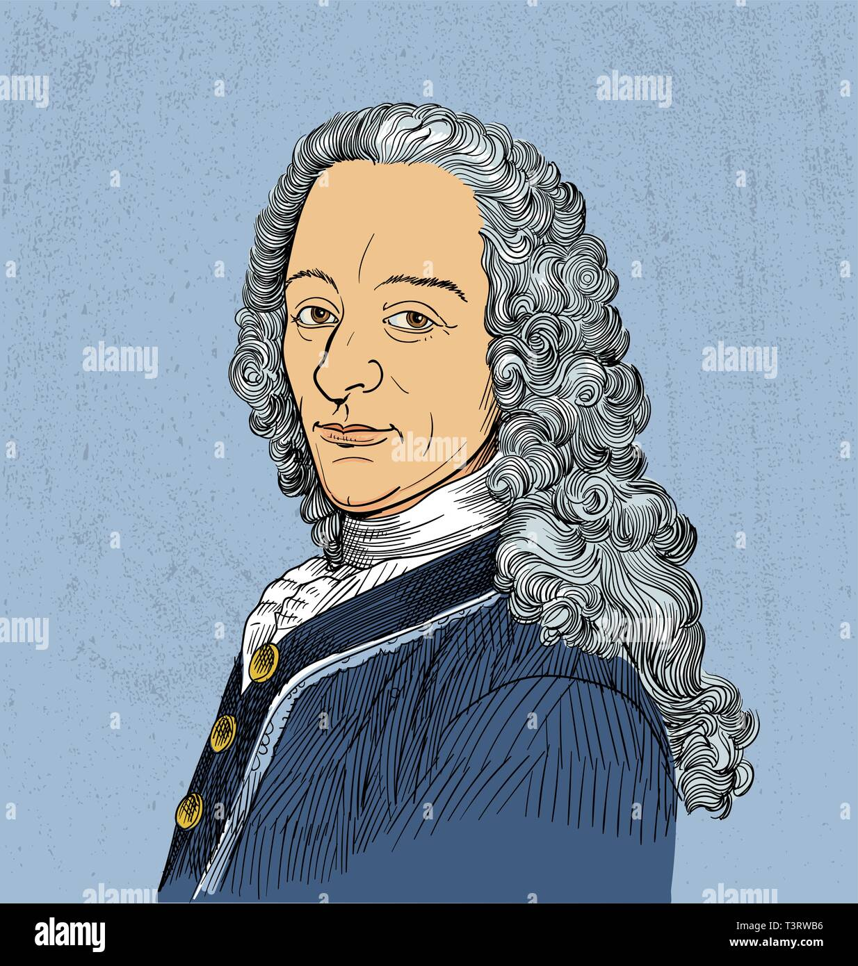 Voltaire, French philosopher, poet, historian, essayist, playwright and autobiographer - Stock Image