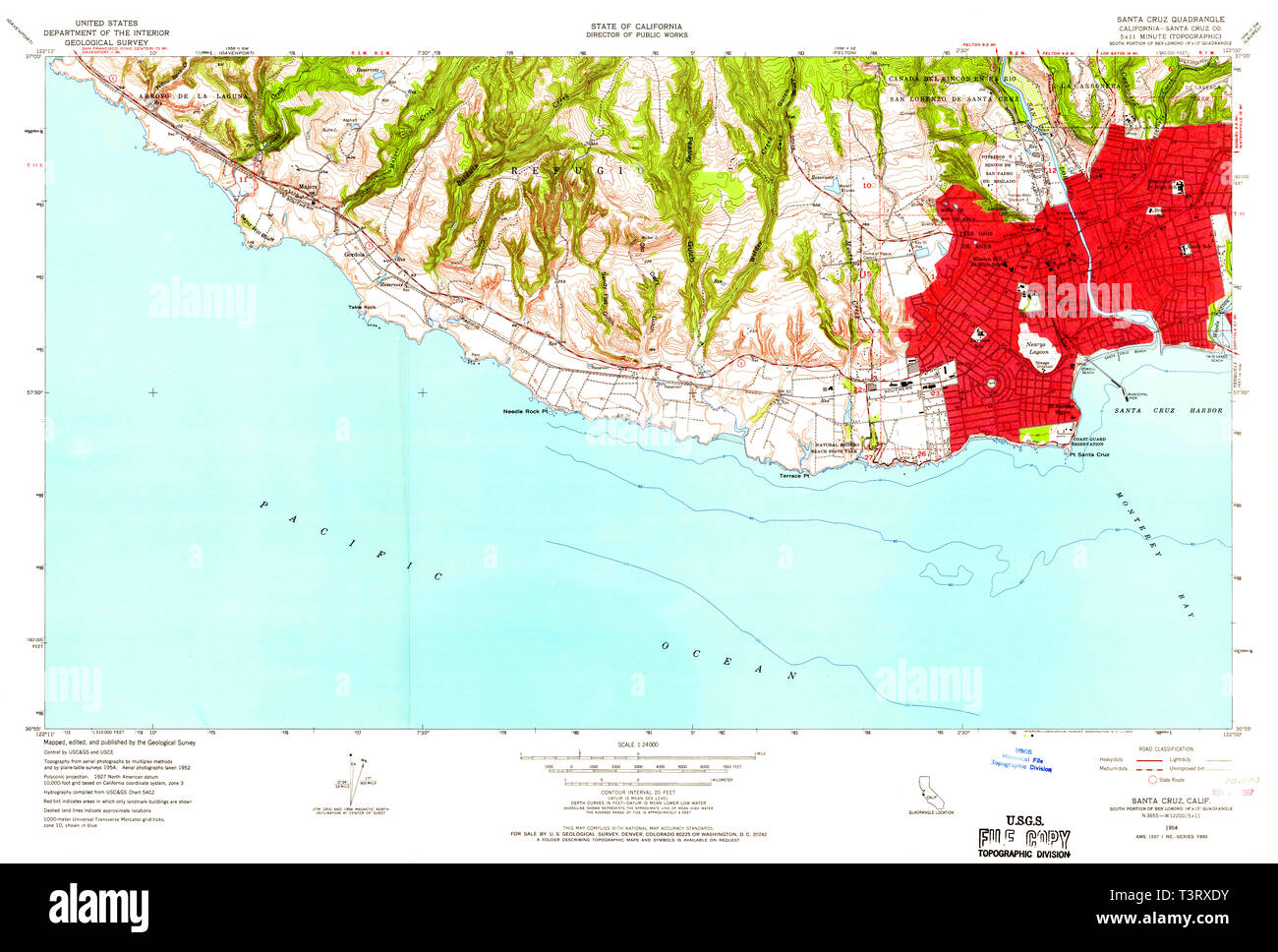 Santa Cruz California Map.Usgs Topo Map California Ca Santa Cruz 300244 1954 24000 Restoration
