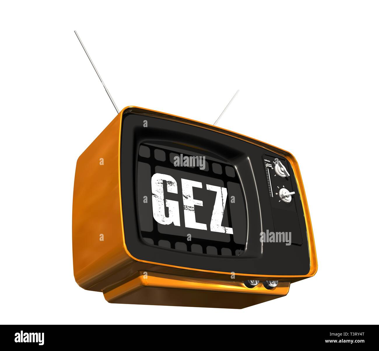 Retro old TV receiver - GEZ on the screen - Stock Image
