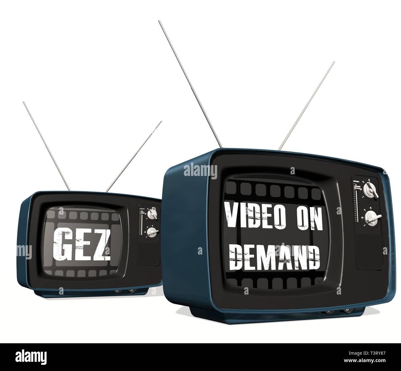 Retro old TV receiver - GEZ vs. Video on Demand - Stock Image