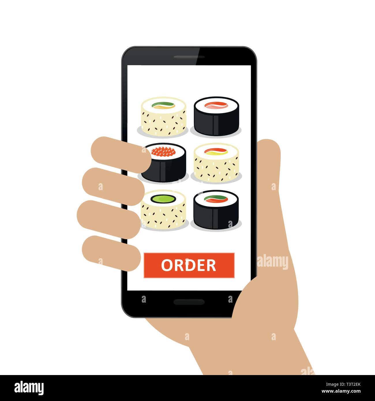 person ordered sushi online via smartphone isolated on white background vector illustration EPS10 - Stock Vector