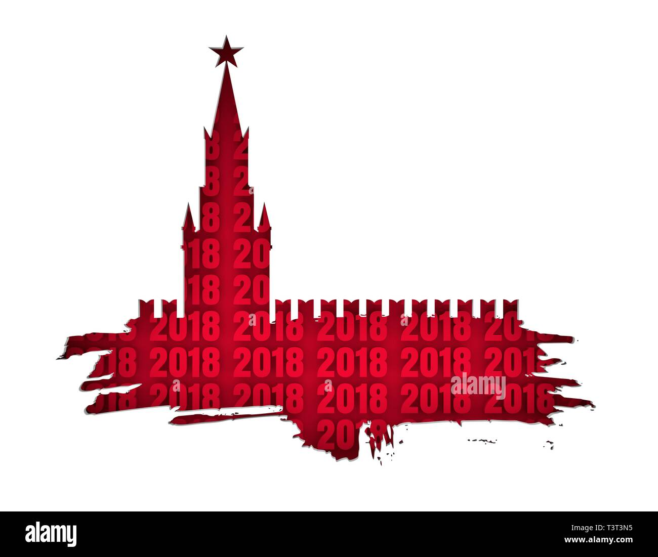Spasskaya Tower of Kremlin and part of the wall in Moscow cutout silhouette. Grunge brush. 3D rendering. Russian capital famous place. 2018 new year n - Stock Image