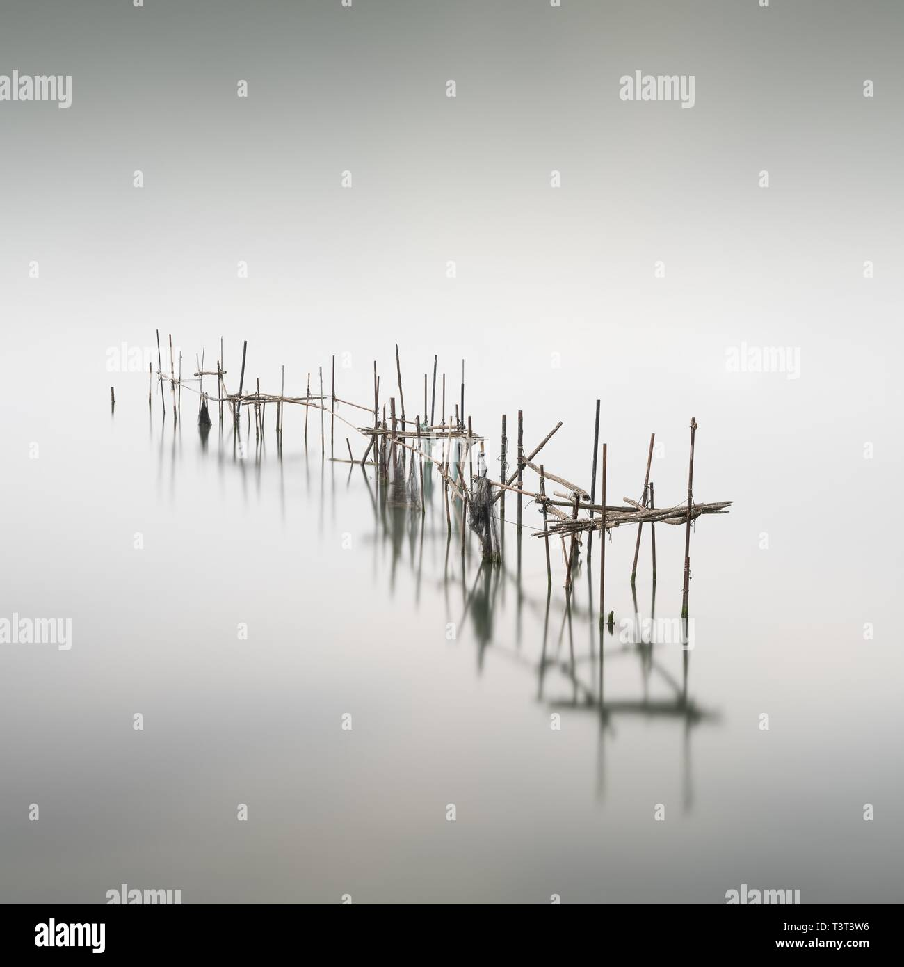 Fishing nets at the Ponte della Liberta, Venice, Italy - Stock Image