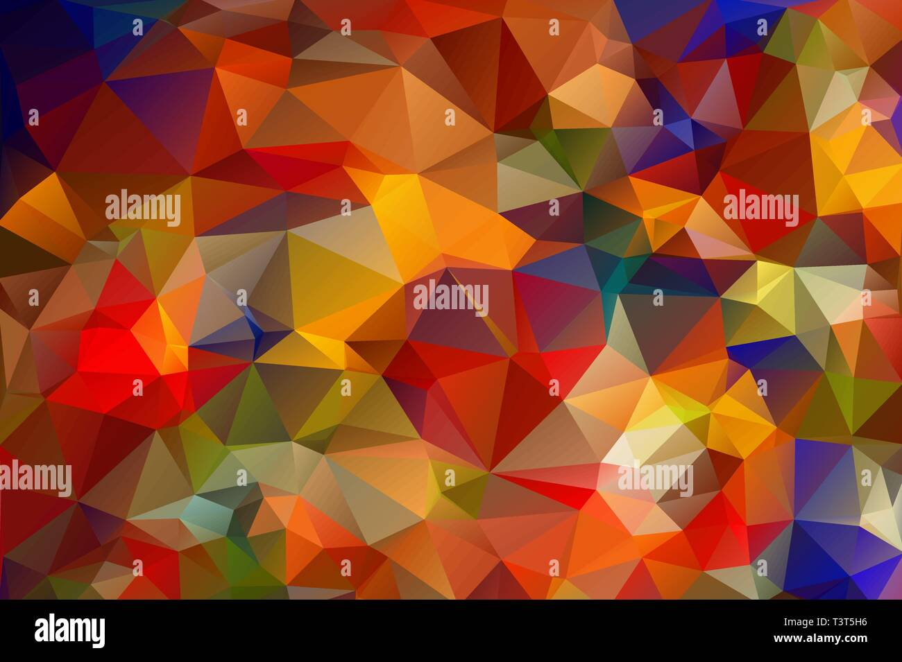 Bright fiery background of multicolored triangles. Hot, summer gradient background - Stock Vector
