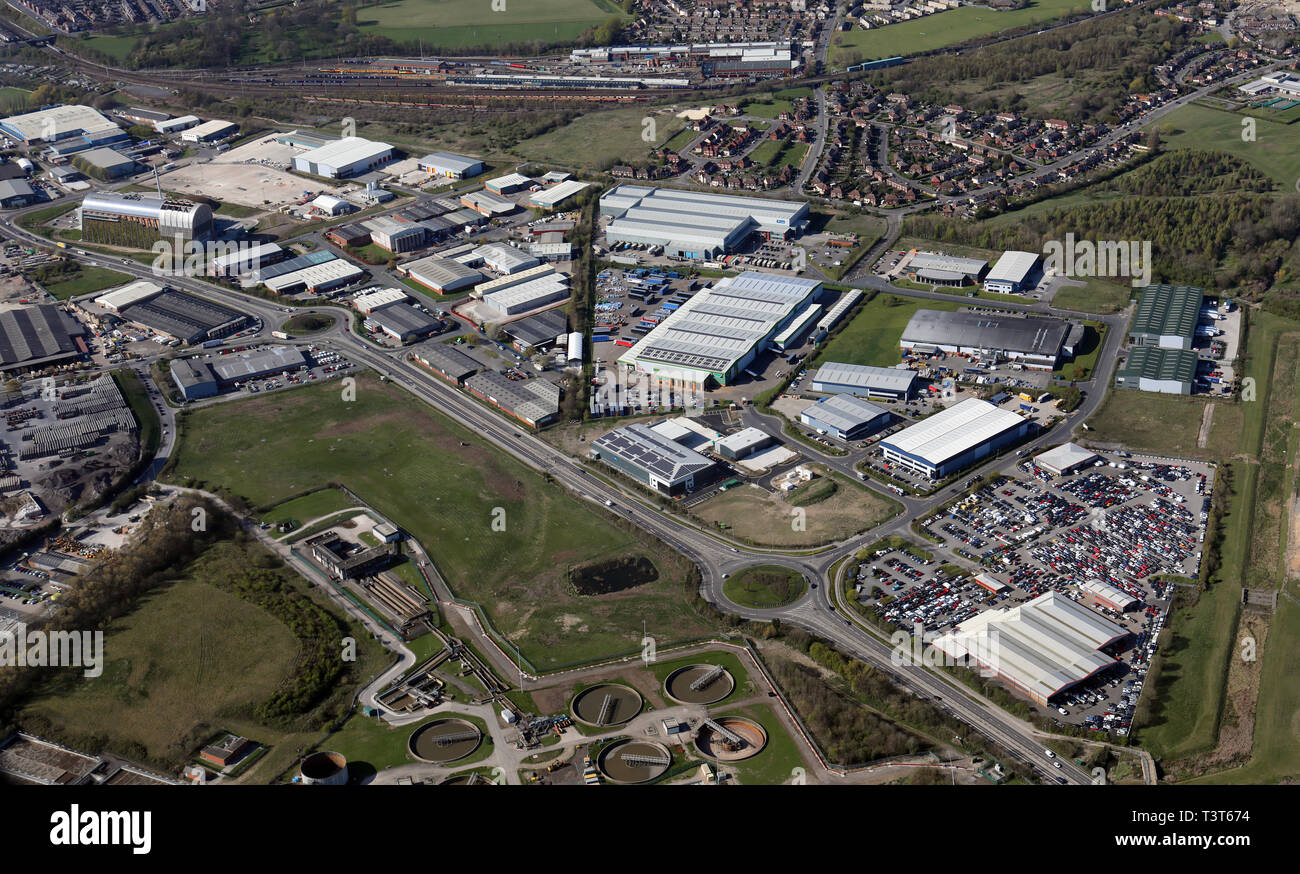 aerial view of industrial estates north of Pontefract Lane, Cross Green, Leeds, West Yorkshire - Stock Image