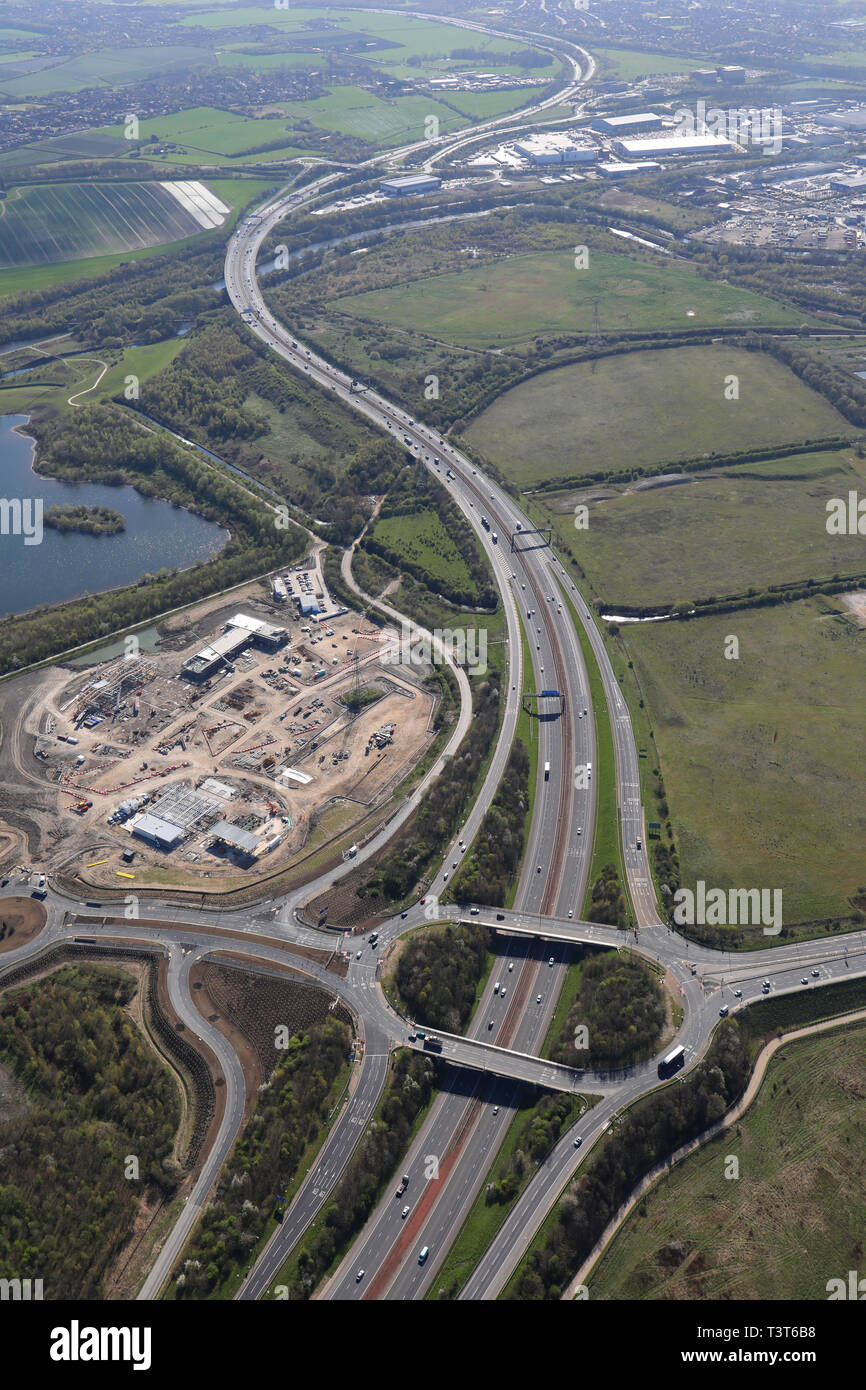 aerial view of Leeds Skelton Lake Services - Extra - M1 J45 under construction - Stock Image