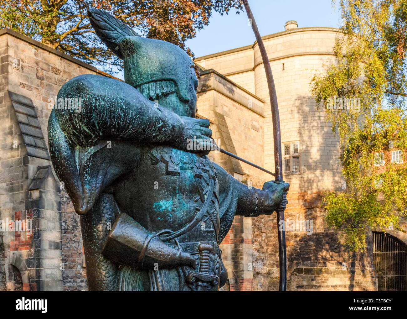 Robin Hood statue at Nottingham Castle, Nottingham, England, UK
