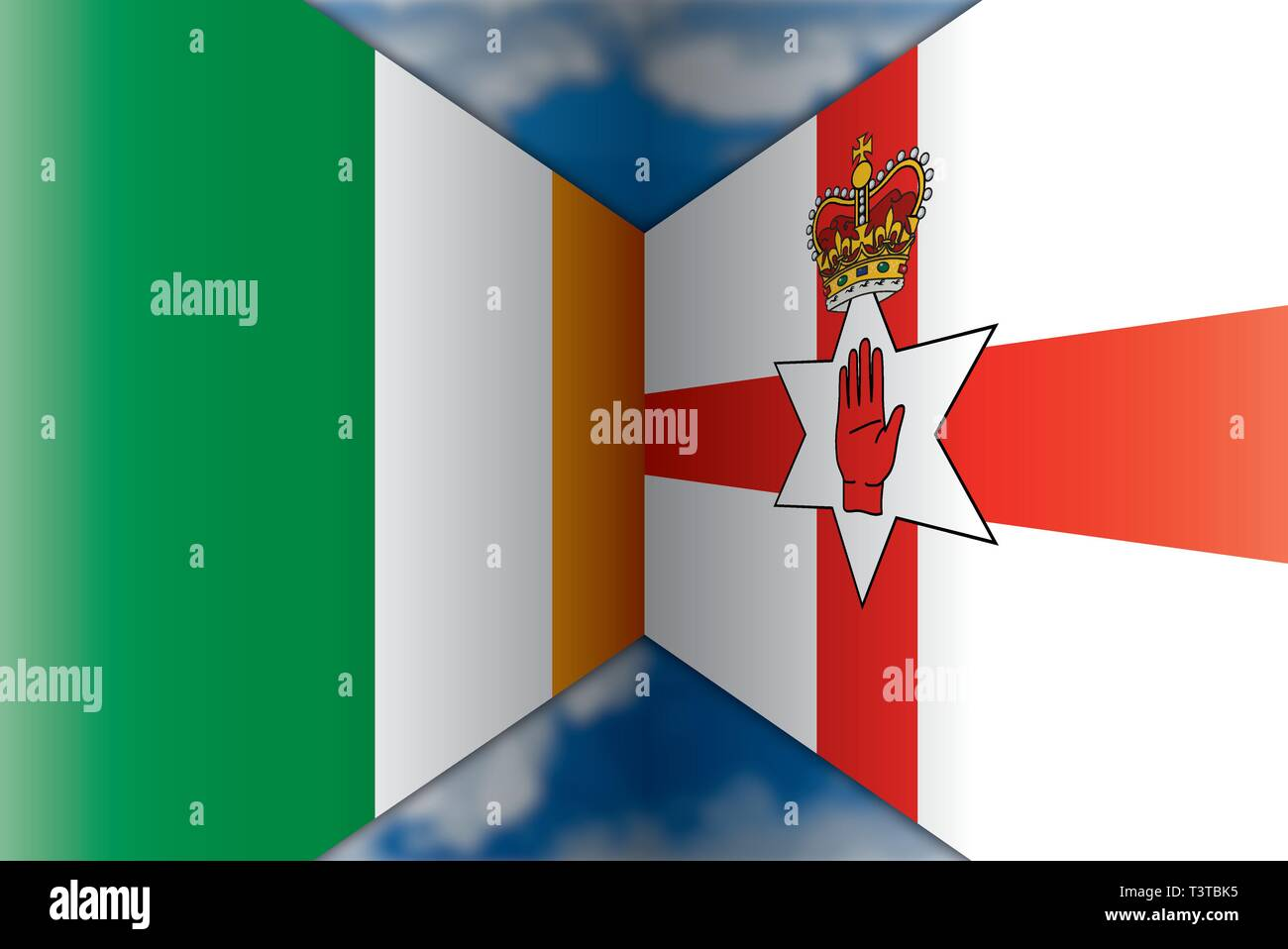 Eire vs Northern Ireland flags, vector illustration - Stock Vector