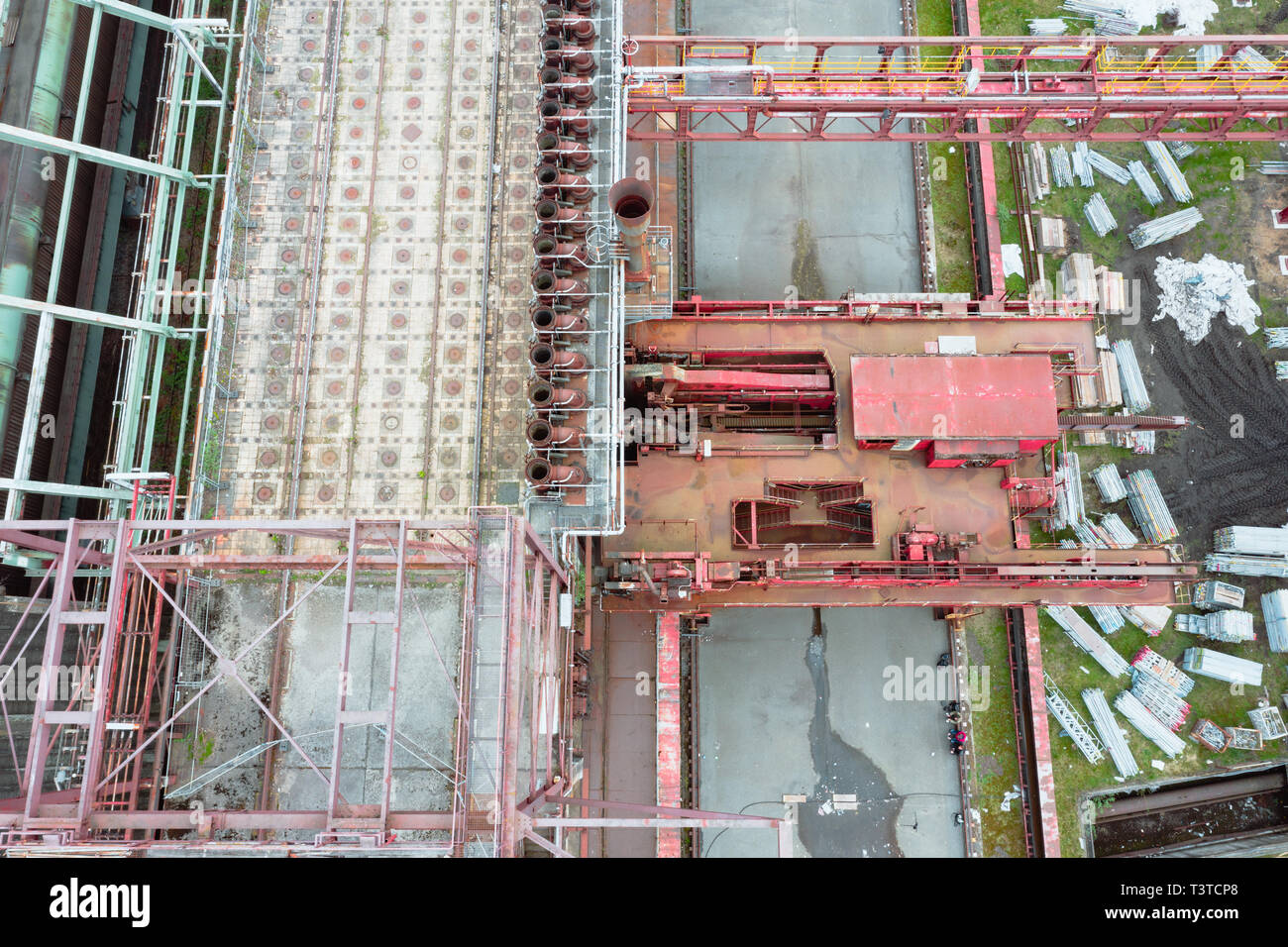 Aerial drone detail of Zollverein big old abandoned industrial complex in Essen, Germany, view from above under. - Stock Image