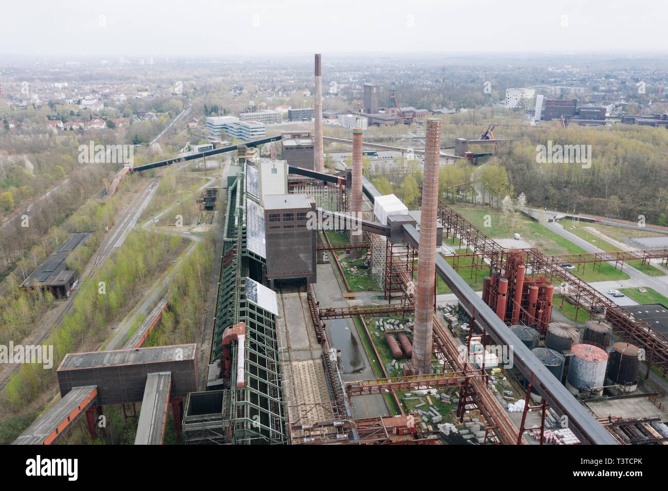 Aerial drone view of Zollverein big old abandoned industrial complex in Essen, Germany - Stock Image