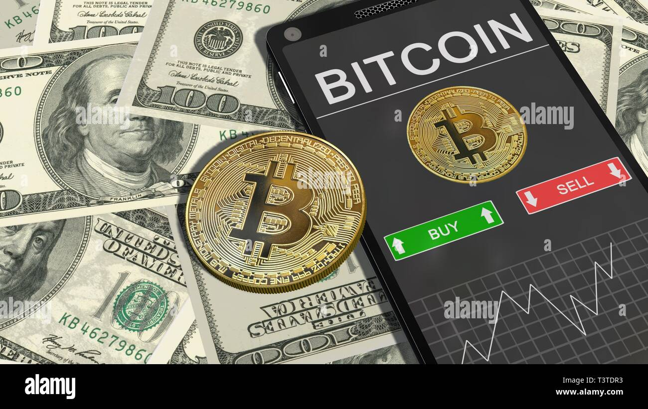 Smartphone with Bitcoin chart and golden bitcoins on 100