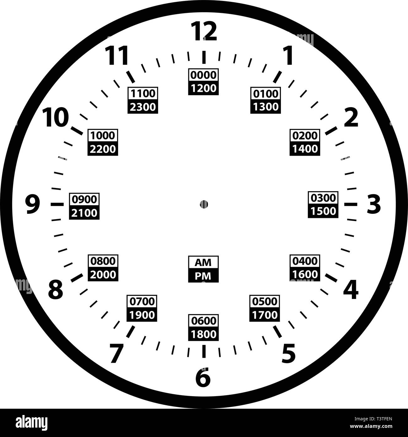 Military Time Clock >> 12 To 24 Hour Military Time Clock Conversion Isolated Vector