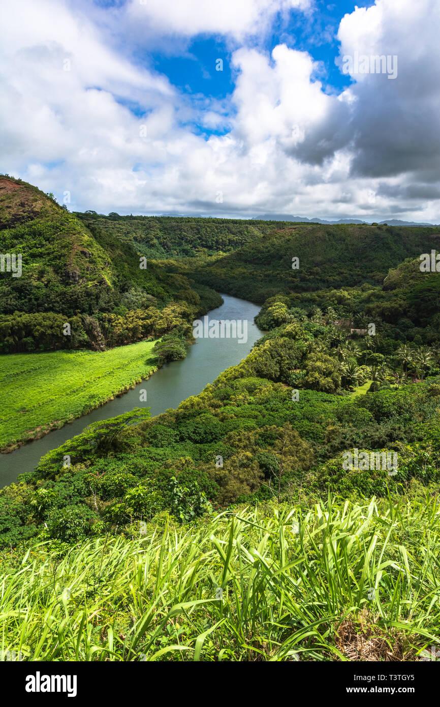 View of Wailua River, Kauai, Hawaii Stock Photo