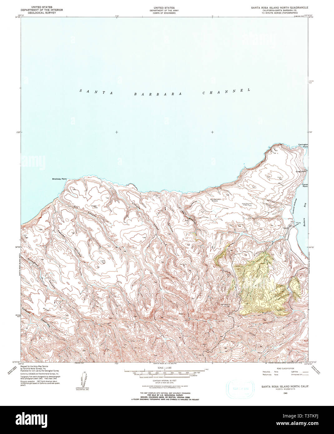 Santa Rosa California Map.Usgs Topo Map California Ca Santa Rosa Island North 300308 1943