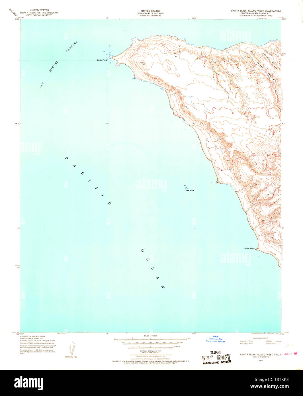 Santa Rosa California Map.Usgs Topo Map California Ca Santa Rosa Island West 300311 1943 24000