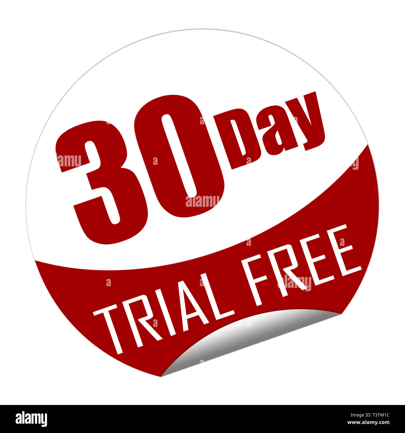 Sticker with the text 30 day trial free isolated on white Stock