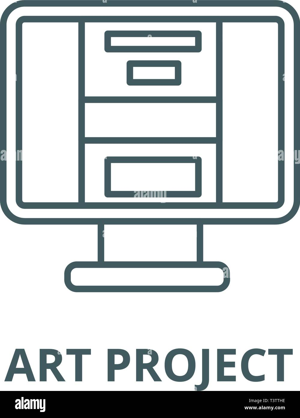 Art project line icon, vector. Art project outline sign, concept symbol, flat illustration - Stock Vector