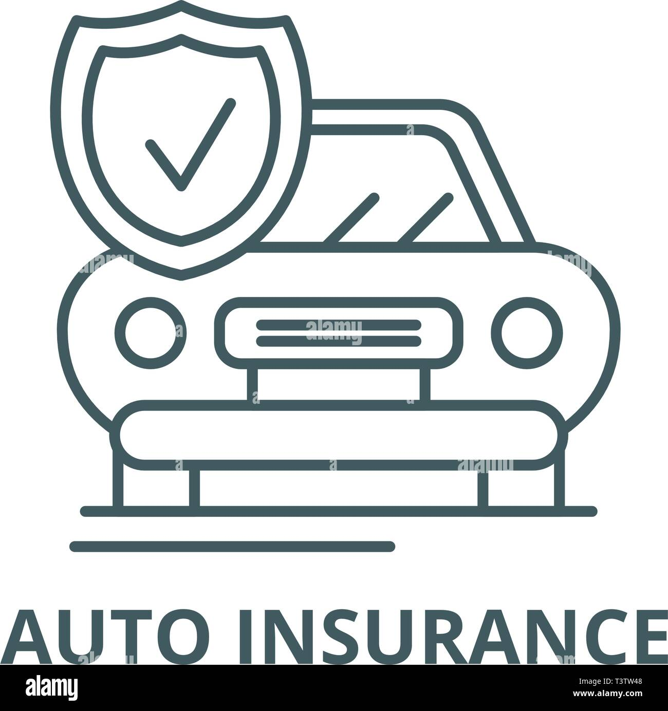 Auto insurance line icon, vector. Auto insurance outline sign, concept symbol, flat illustration Stock Vector