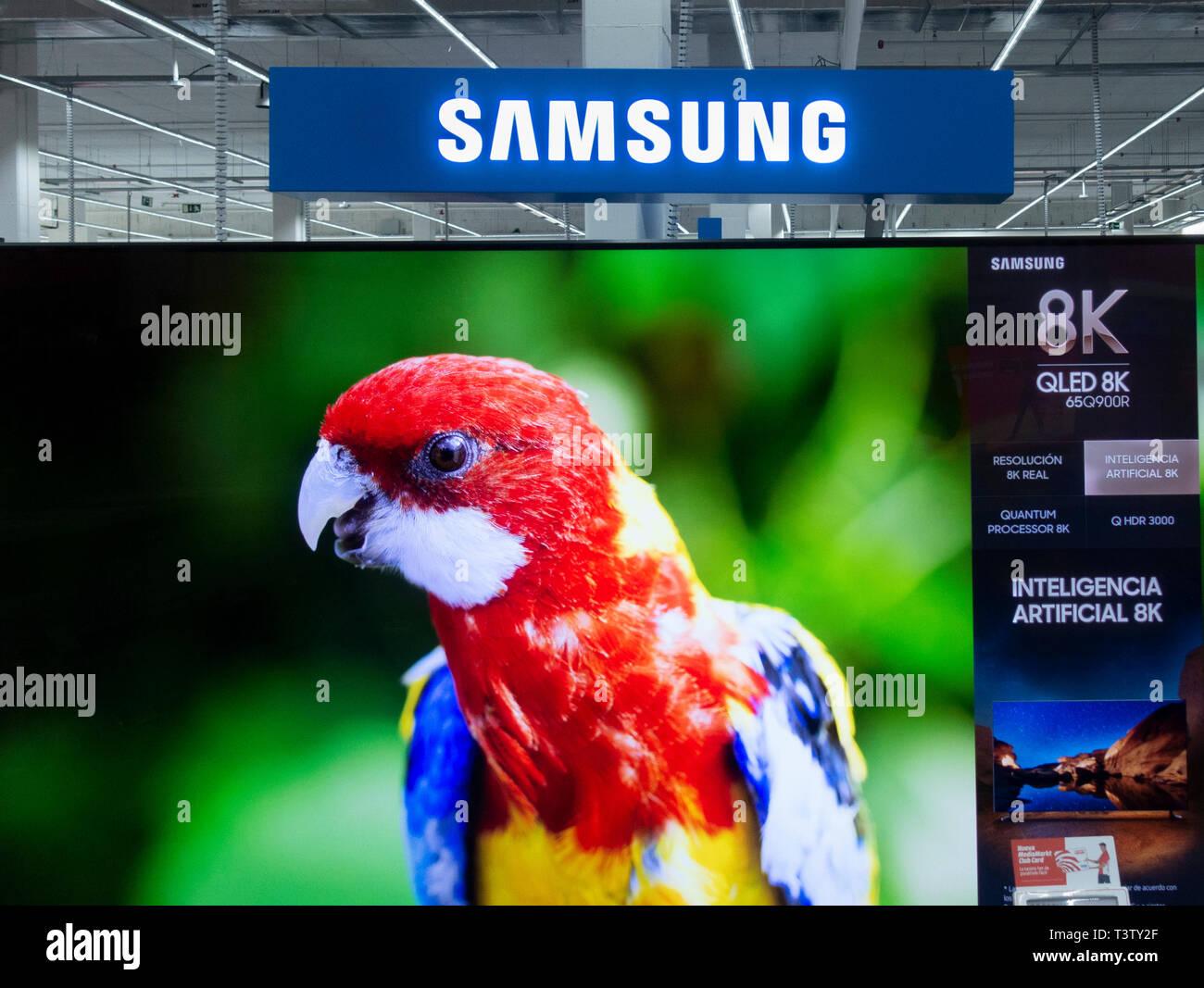 Samsung 8K QLED Television. - Stock Image