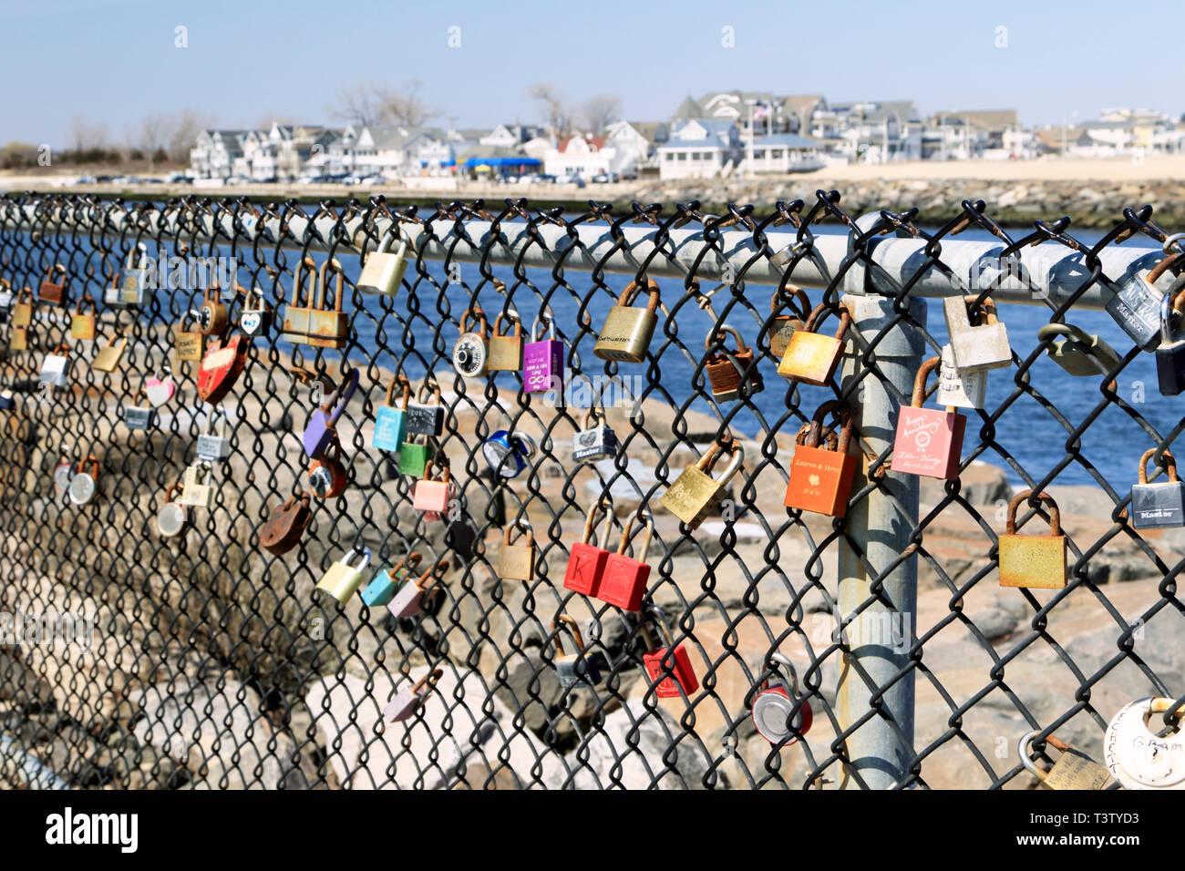 Love locks at the Manasquan Inlet, Point Pleasant Beach, New Jersey, USA - Stock Image