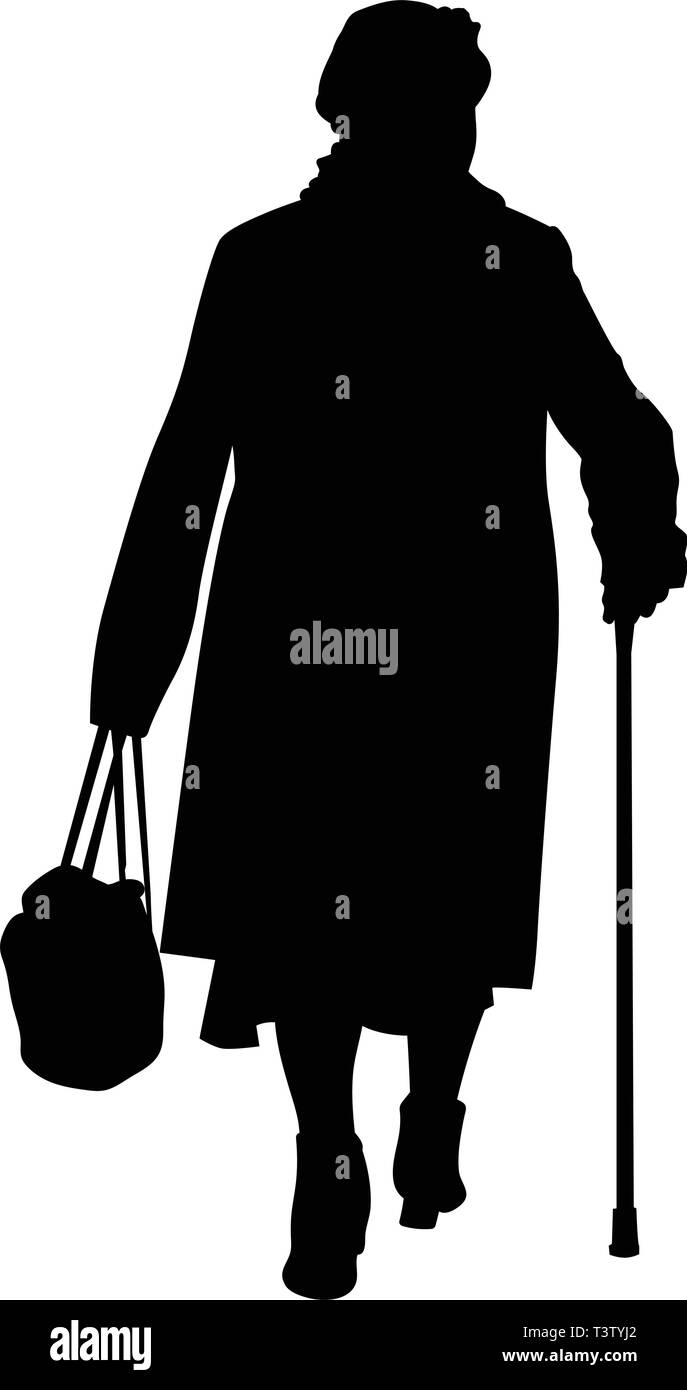 Silhouette of an elderly woman with a cane and a bag - vector - Stock Image