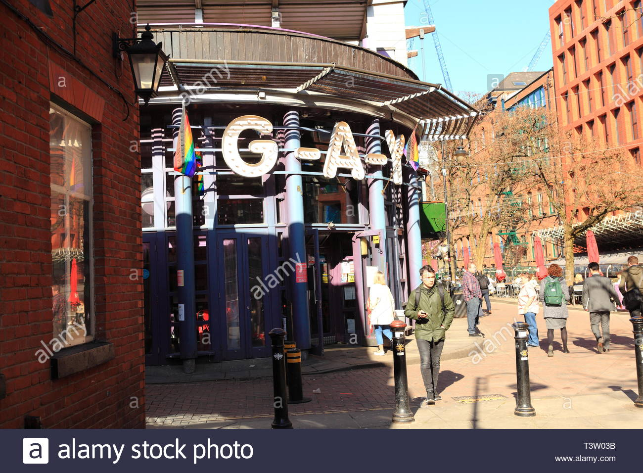 The Gay Village Taken From The Bottom Of Canal Street at Manchester UK - Stock Image