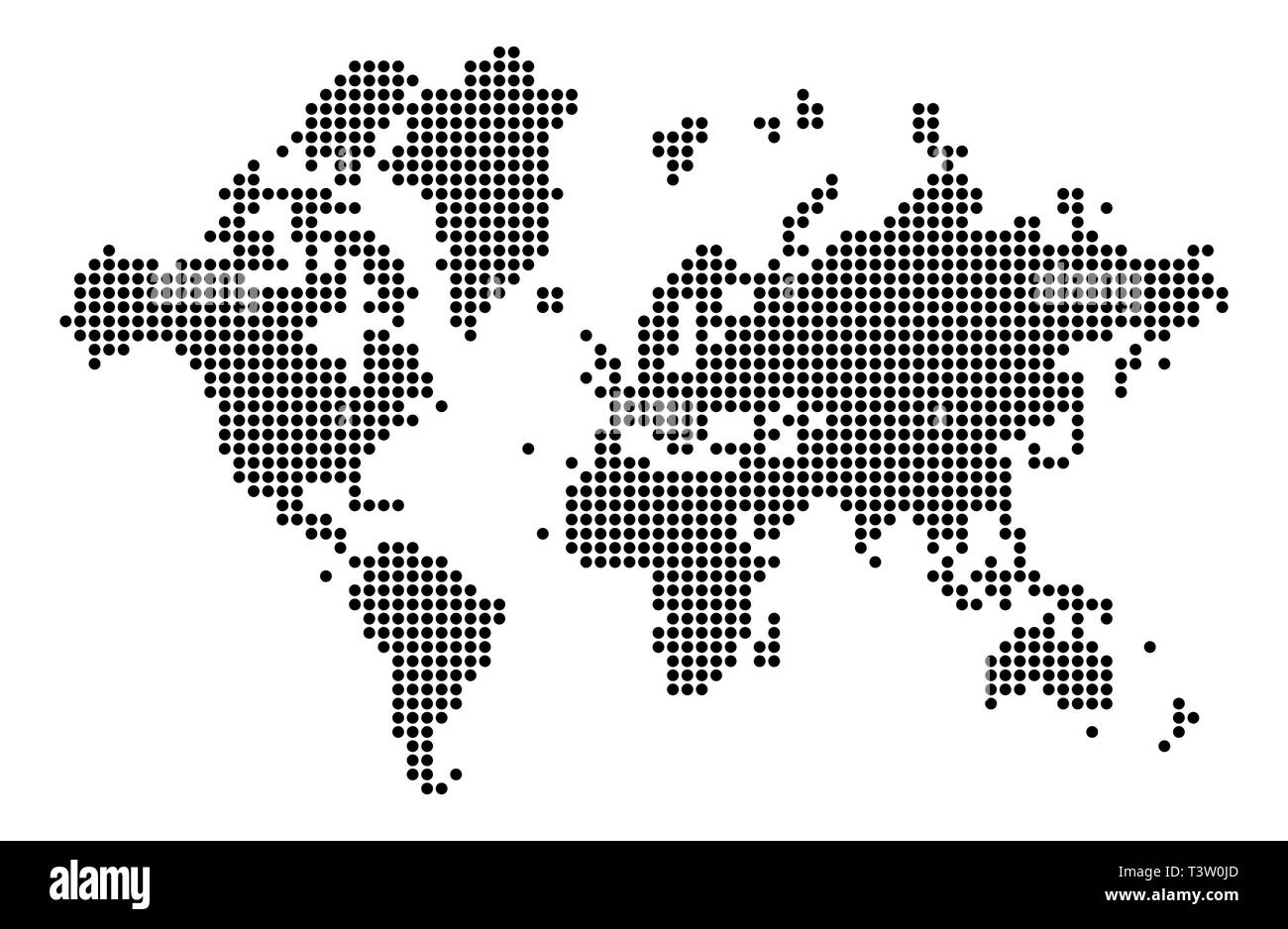 World map silhouette. World map in dots. Cartography and geography. Vector illustration - Stock Image