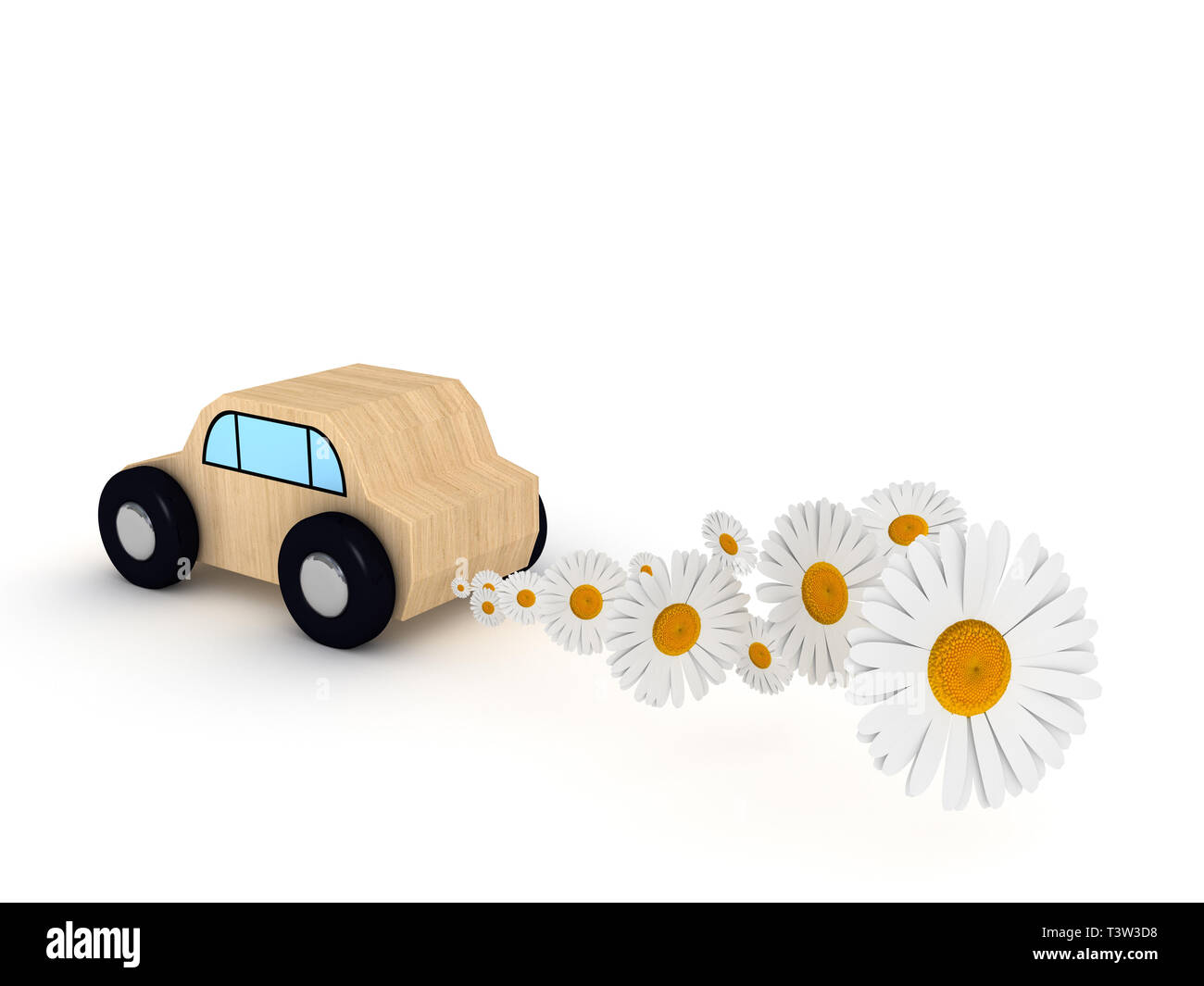 Car toy on white background with daisy. - Stock Image
