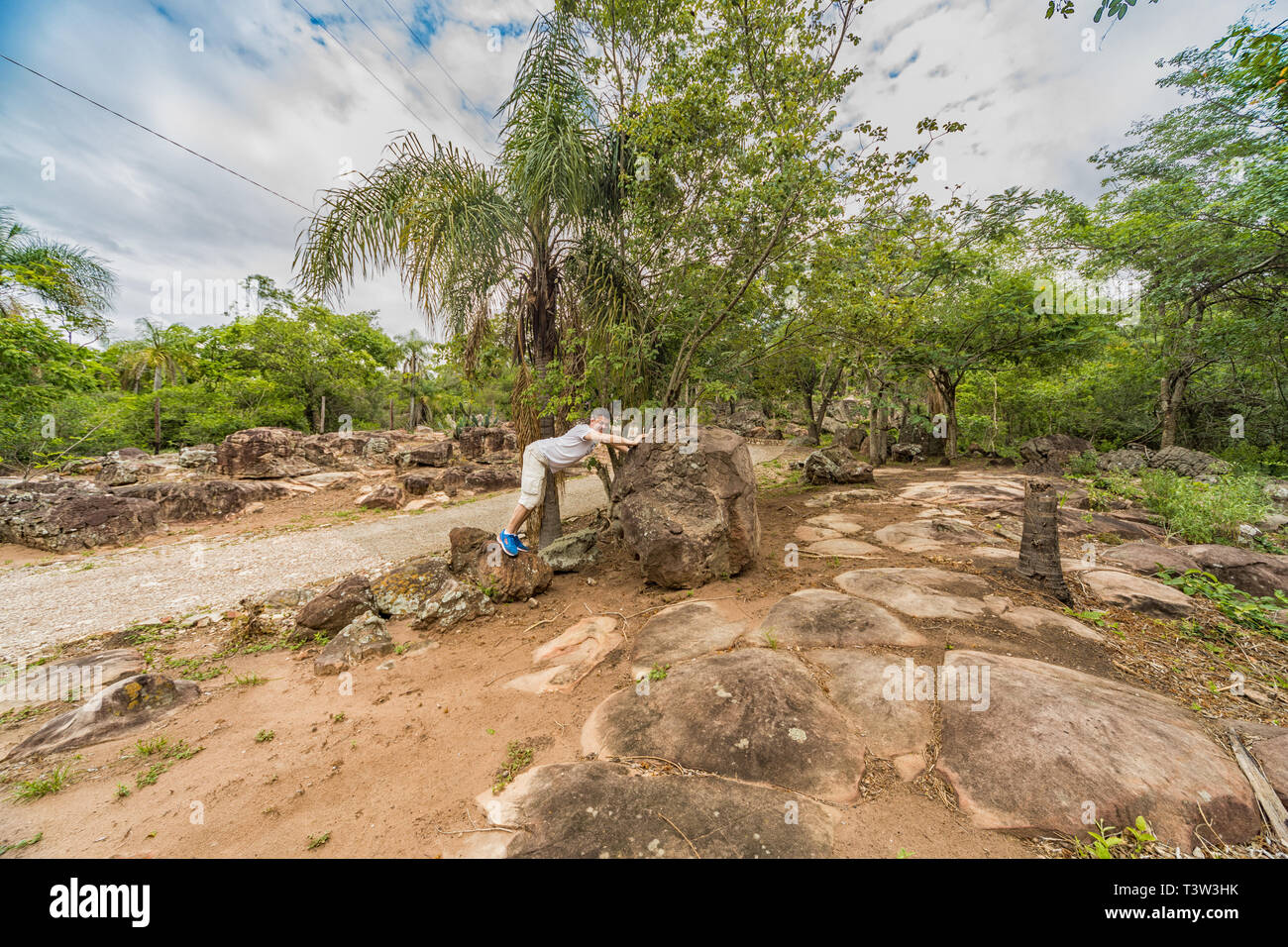 A man in a rocky wilderness in Paraguay - Stock Image