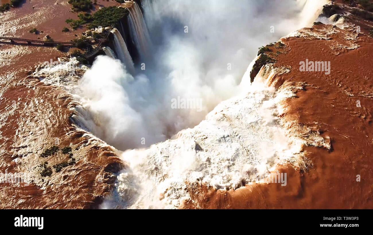 Aerial view of the Iguazu Falls. View over the Garganta del Diablo the Devil's Throat. - Stock Image