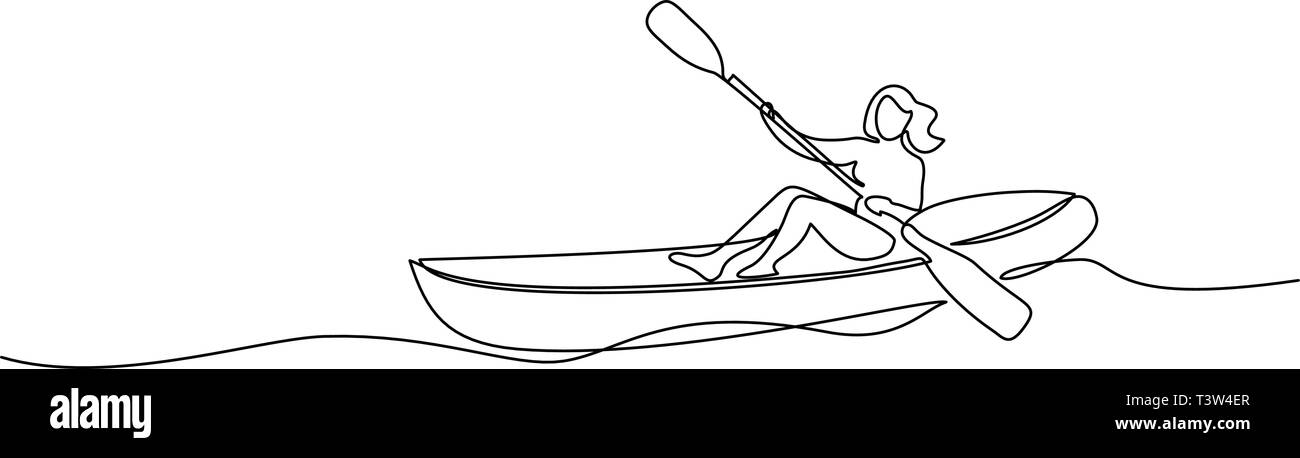 Continuous one line drawing Woman in canoe summer travel vector illustration - Stock Vector