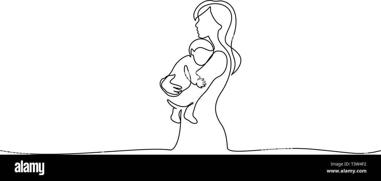 Happy Mother day card. Continuous one line drawing. Woman hold her baby. Vector illustration - Stock Vector