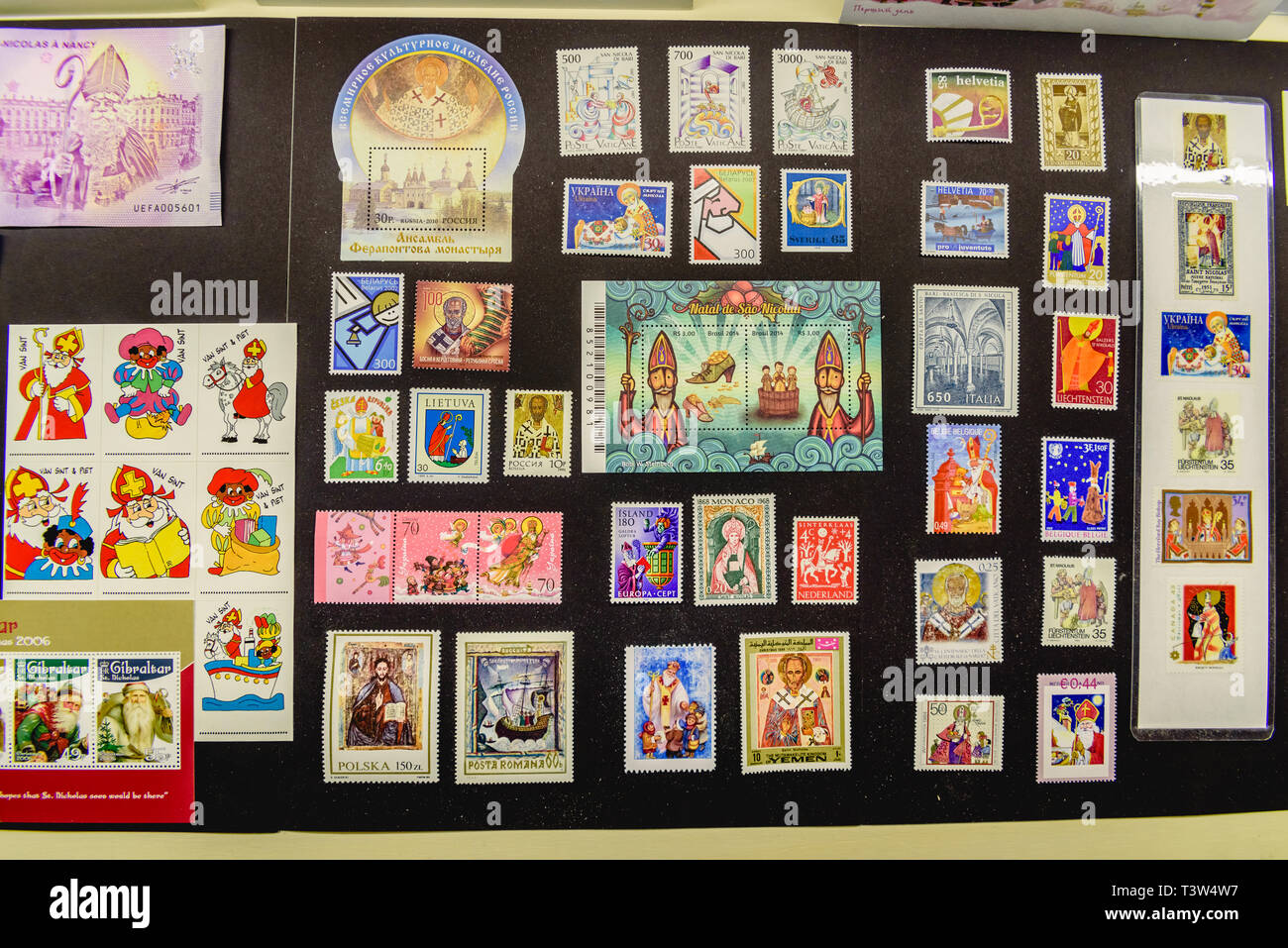 Christmas Stamps 2019.Bari Italy March 8 2019 Collection Of Stamps With