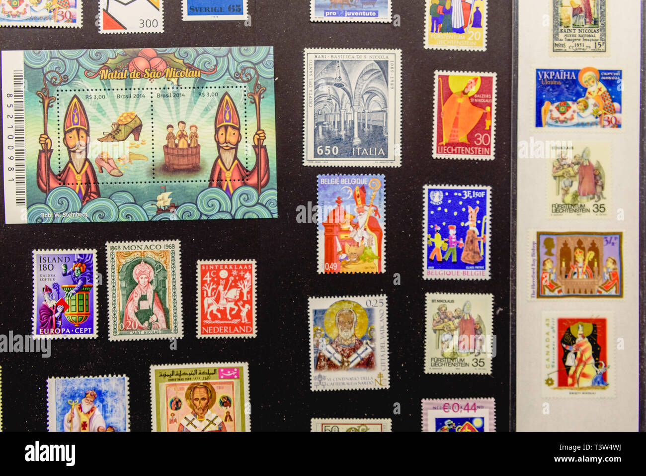Postage Stamps Christmas 2019 Bari, Italy   March 8, 2019: Collection of stamps with Christmas