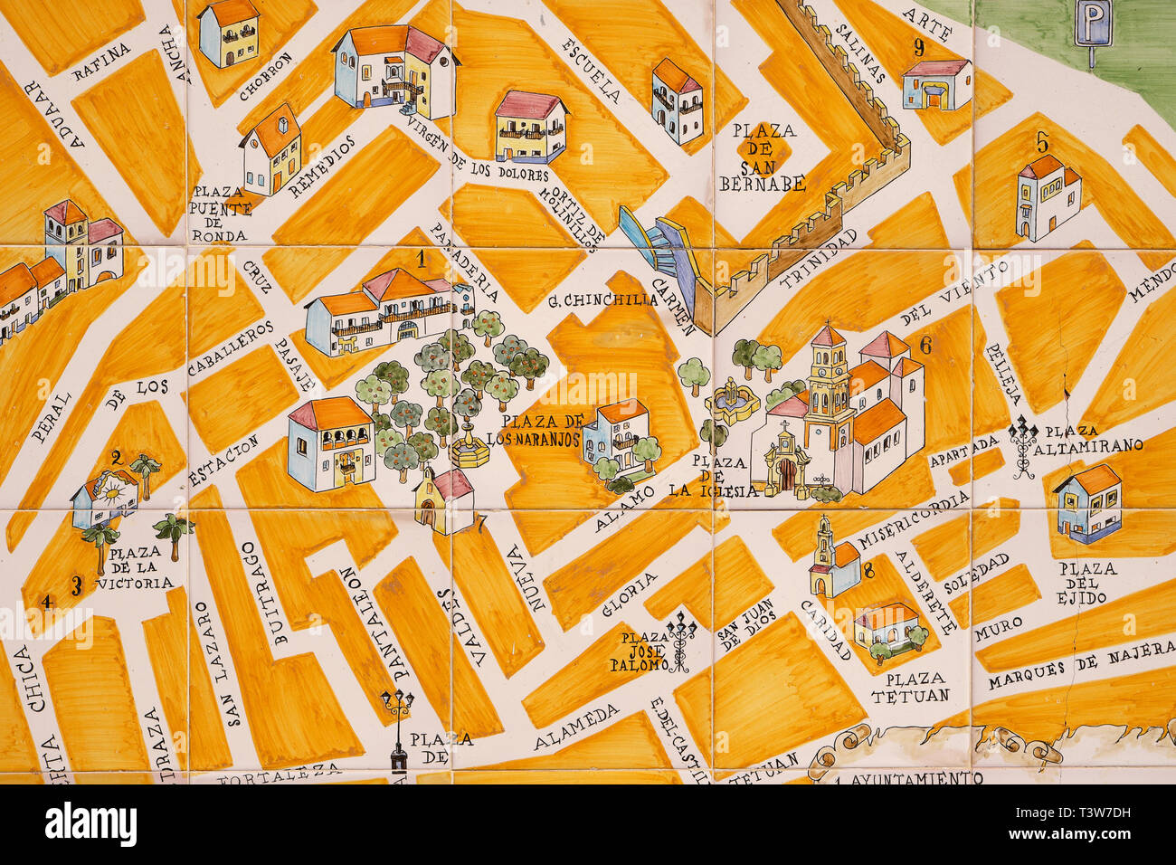 Marbella Map Of Spain.Marbella Old Town Andalucia Spain March 13 2019 Wall Tile