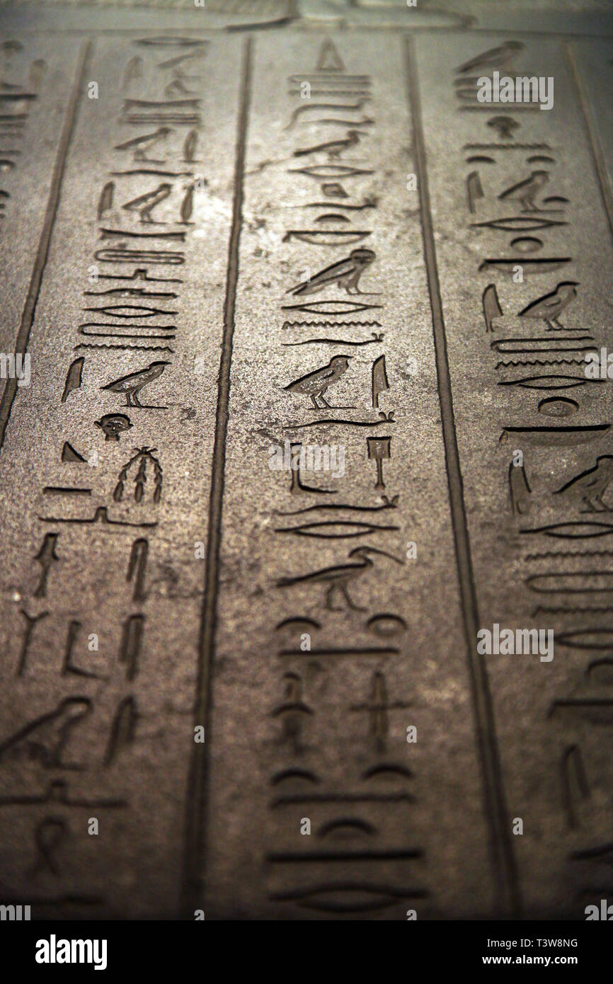 Hieroglyph writing on the Sidonian King Tabnit Sarcophagus at Istanbul Archeology Museum in Istanbul, Turkey. - Stock Image