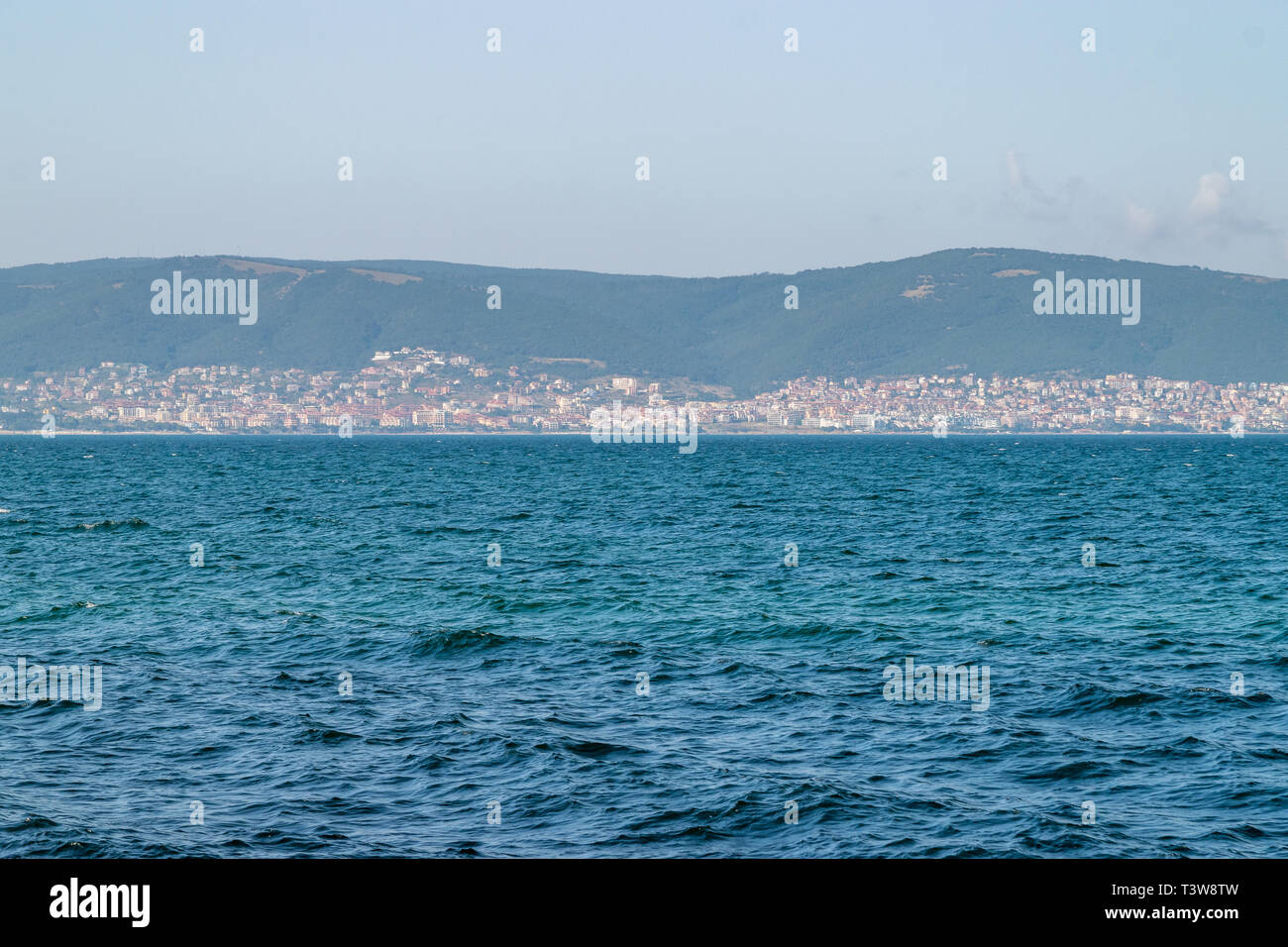 View to the Sunny beach resort from Nessebar ancient city, bought one of the major seasides resorts on the Bulgarian Black Sea Coast. - Stock Image