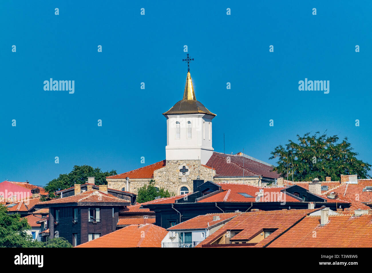 Church Assumption of the Holy Virgin in Nessebar ancient city, one of the major seaside resorts on the Bulgarian Black Sea Coast. Nesebar, Nesebr is a Stock Photo