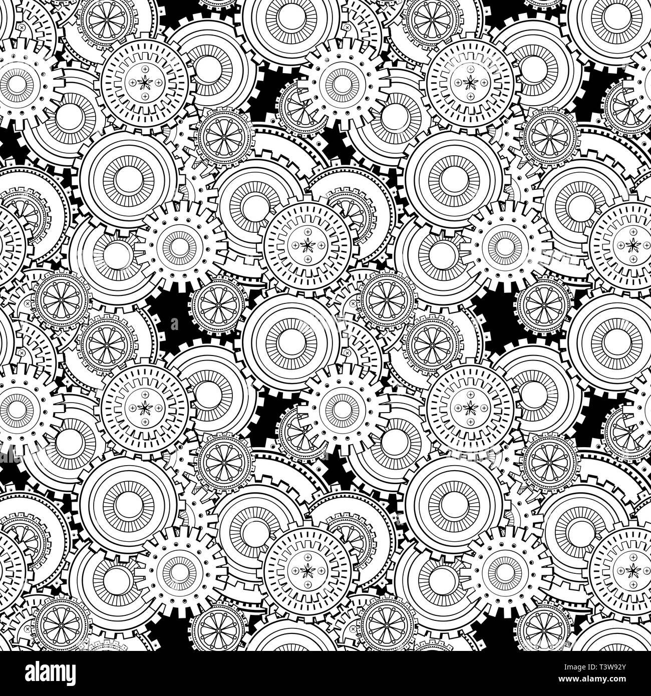 Cogwheels seamless pattern. Cogs and gears steampunk texture. Mechanism black and white ink pen drawing. Coloring book abstract illustration. Textile, wrapping paper, background monochrome vector fill - Stock Image