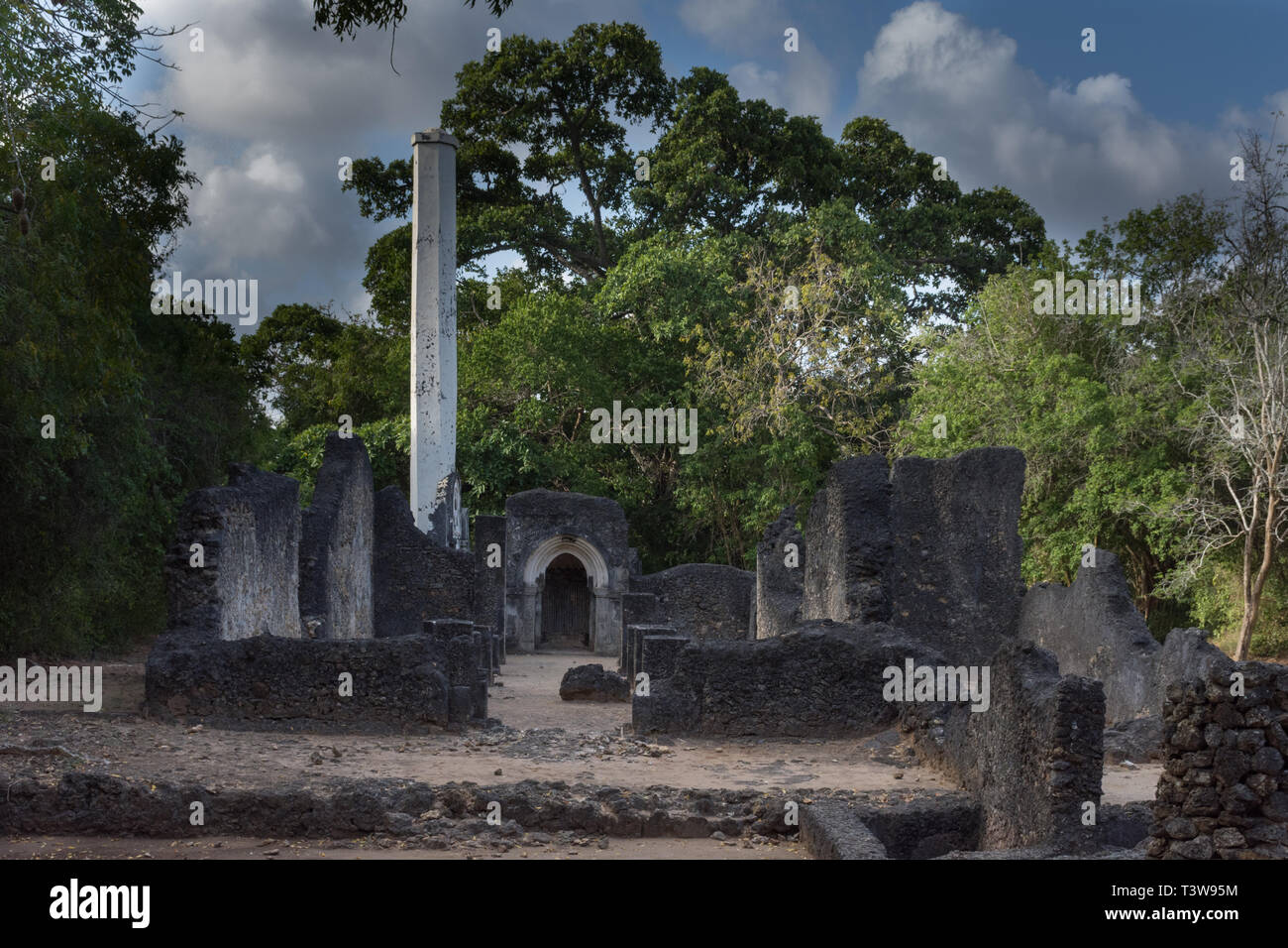 Gede coastal town Kenya from 14th to the 17th century. - Stock Image