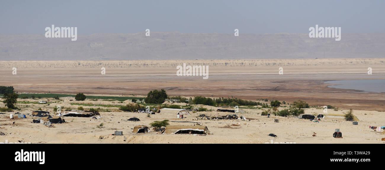 Bedouin village by the Dead Sea in Jordan. Stock Photo