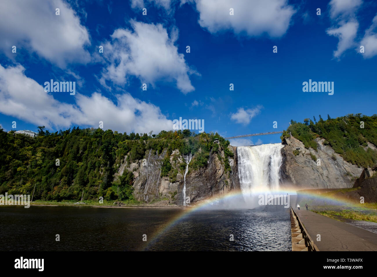 Montmorency Falls rainbow, wide angle, Quebec, Canada. Stock Photo