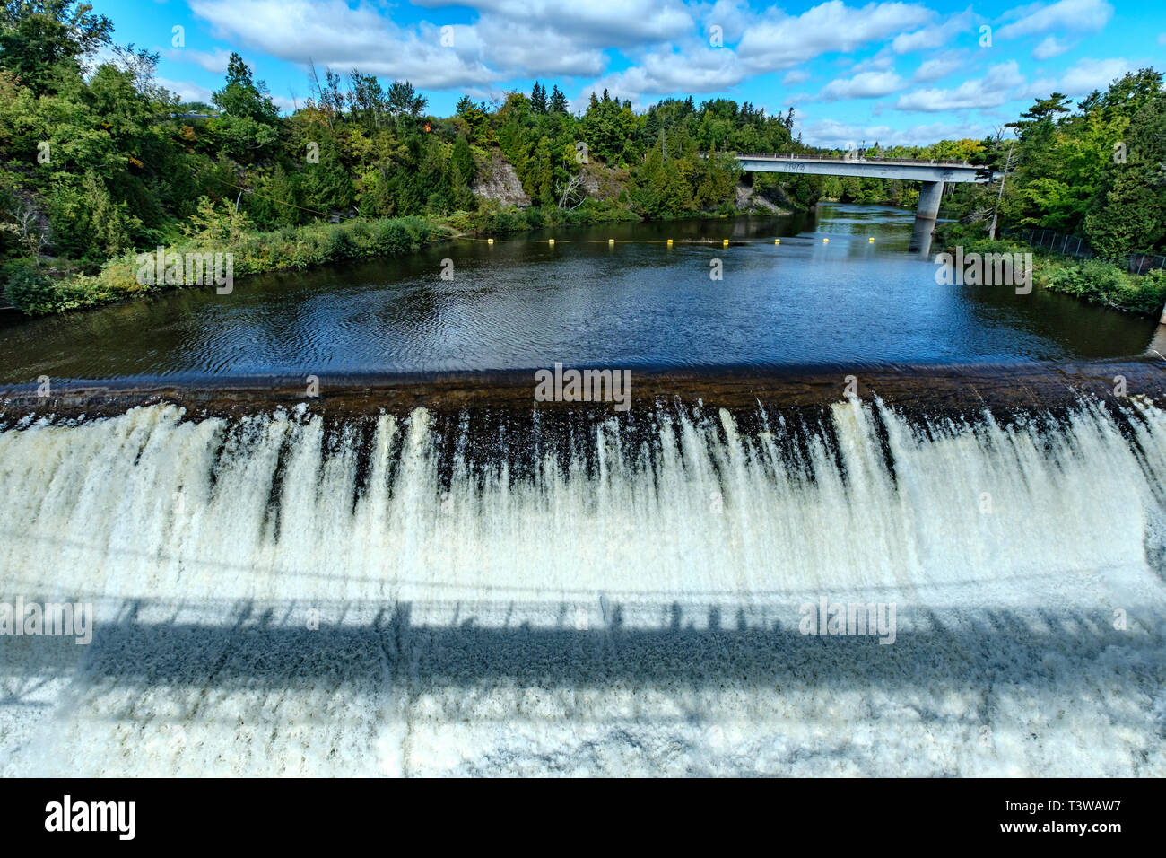 A shadow of the bridge at Montmorency Falls, Quebec, Canada. Stock Photo